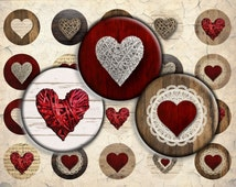 Wooden Rattan Red Hearts Digital Download - 30mm, 25mm (1 inch) & 20mm circles - 1 Inch Circle Digital Download