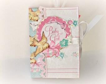 Mini scrapbook album, Girl photo album, Baby shower gift, Newborn girl memories photo book, Premade pages,Pink album,Ready to ship