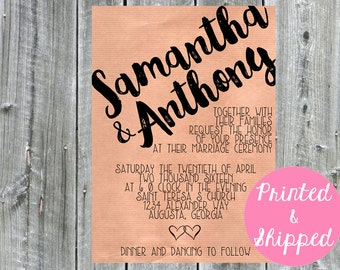 Wedding Invitation, Samantha Calligraphy, Faux Kraft Paper, Wedding Invite, typography