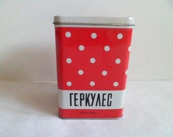 Soviet Red Tin Box, Polka Dots Tins, Soviet Tin Container, Vintage metal tin boxes for kitchen