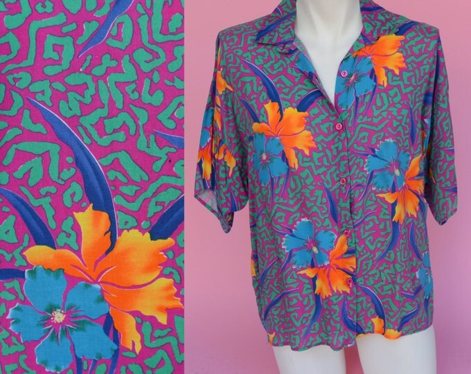 Featured listing image: Vintage 80s, Tropical Print, Hawaiian Shirt // 1980s Retro, Pink & Green, Floral, Men's Top Size Medium, Large