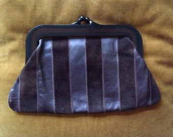 Vintage leather and suede clutch bag