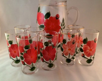 SALE - Hand Painted Pitcher with 8 Matching Glasses - Flower Design