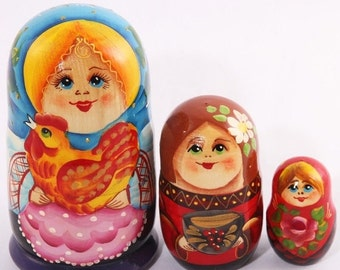 30% OFF FLASH SALE Russian Nesting Doll Matryoshka Girl with a Hen Nesting Doll 5'' (3 ct.)