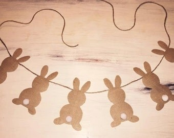 Bunny Bunting/Burlap Bunny Bunting/Matel Decor/Easter Decor