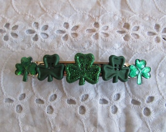 St. Patrick Shamrock Button Barrette Gifts for her Gifts for girls Gifts for teens Button Barrettes Hair Accessories Hair Clip