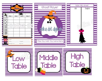 Buy 2 Get 1 Free HALLOWEEN Complete Set Bunco Score Card Sheet with Matching Table Numbers Tally Sheet Printable Digtal File Download PDF