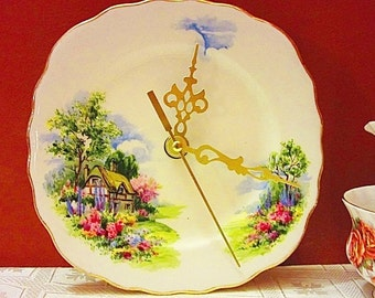 Vintage China Plate Clock Royal Vale Country Cottage Birthday For Her Mothers Day Gift, Anniversary Gift for Grandma Engagement Wedding Gift