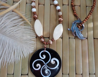 Balancing Shell Necklace- Zen Mother of Pearl Necklace- Exotic Shell Necklace- Shakti Necklace- Feminine Eclectic- Mother of Pearl- Pearl