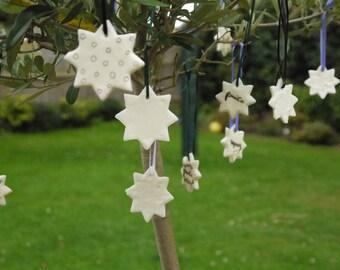 Peace and Merry - Beautiful Set of 3 Mini Handmade Star Decorations - Christmas