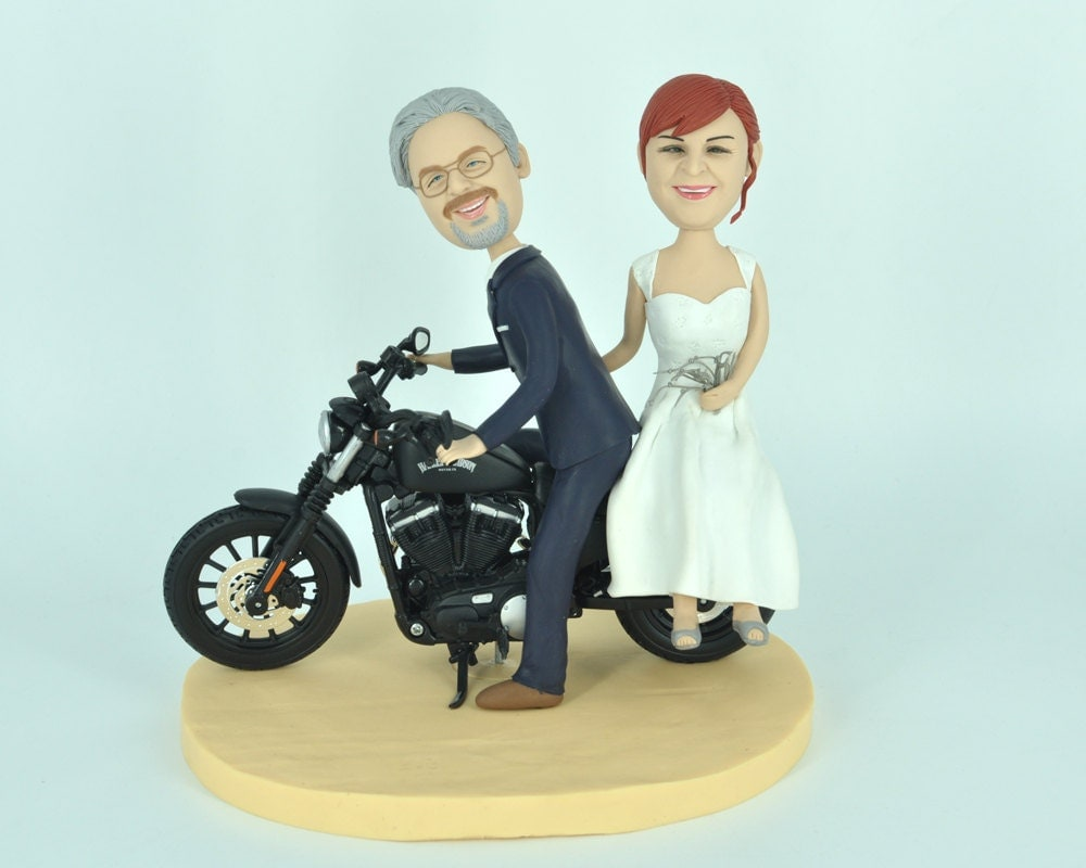 Unique Wedding Cake Topper Funny Cartoon Harley Davidson