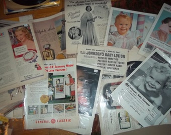 Over 100 Vintage Magazine ads from 1940's and 50's, double sided  pics and ads