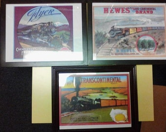 Railroad Themed Framed Citrus Labels - Reproductions made in 1980's