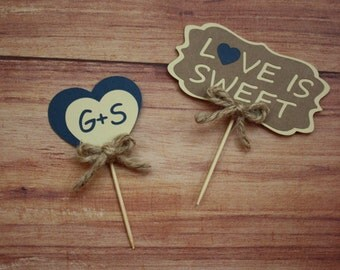 """Personalized Cupcake Toppers """"love is sweet"""" (set of 24)"""