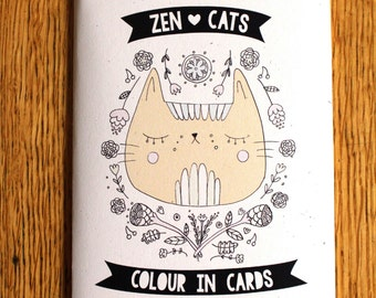 Zen Cats Colour In Cards - Color in cards - Coloring book
