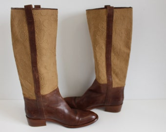 Brown Leather Riding  Boots BUTTERO  Womens Western Festival Boho Hippie Fashion  Boots  Size 41 (EUR)  10 (US Women)
