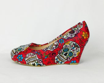 Red shoes, red sugar skulls, women shoes, custom shoes, alternative style, customized shoes, custom wedges, gift for her, rockabilly style