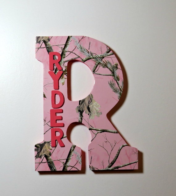 Pink Camo Custom Wall Letter Name Art Wall Letters Hanging