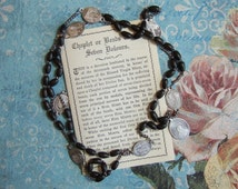 Vintage SERVITE ROSARY 7 decade Seven Dolors of Mary Chaplet wood beads with instruction leaflet