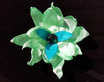 Mint, Turquoise, and Green Flower Hair Clip
