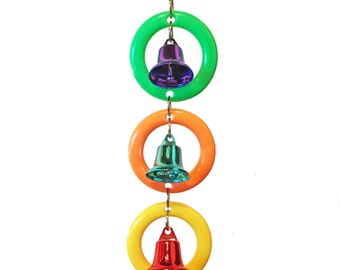 Colorful rings and bells are just right for the small birds