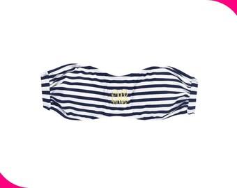 Swimsuit Bandeau-Mini Navy Stripe