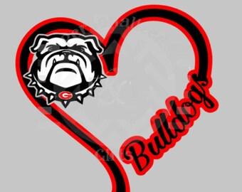 I Heart Bulldogs, window decal, Georgia, Go Dawgs, football