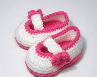 Baby shoes baby booties crochet booties for dancers/white/Fuchsia ~ ~ size 3 months