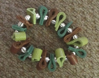 Teal and Green Dyed Leather Stretch Bracelet!  OOAK!