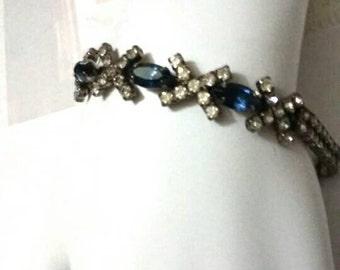 Vintage 2 Strand Blue Rhinestone Silver Bracelet