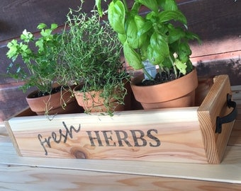 Cedar Herb Planter Box, wooden planter box, rustic kitchen decor,