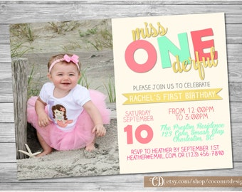 Miss ONEderful Invitation / First Birthday / Onederful Invite / Digital File / Girl First Birthday Invitation / Photo Invitation