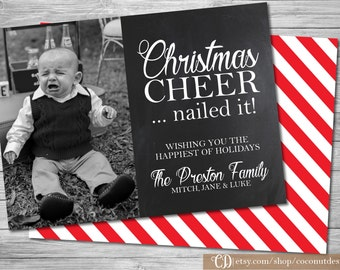 Christmas Photo Card / Christmas Cheer / Holiday Photo Card / Back Side / Christmas Card / Holiday Card / Digital File