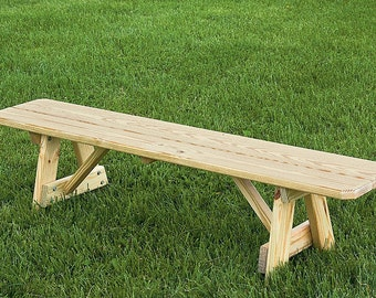 42 Inch Traditional Backless Picnic Bench *STAINED* Pressure Treated Pine    Real Wood