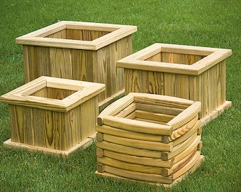 Pressure Treated Pine Outdoor Square Planters - Various Sizes - *UNFINISHED* - Amish Made in the USA