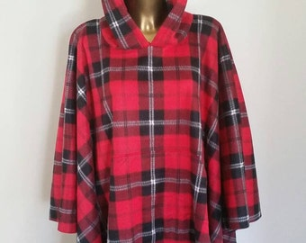 Plaid Mens or Womans Hooded Fleece Poncho In With Front Pocket