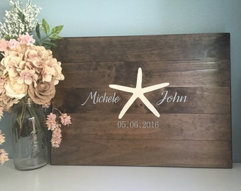 Rustic Wedding Guest Book Alternative /Starfish Beach Wedding Design/ Painted Rustic Wedding Decor Wedding Guest Wood Guest Book Destination