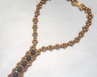 """Necklace """"The Egyptian Tie"""" Matte Bronze Gold and jet"""