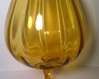 "Vintage Huge Amber Glass Wine Glass 11 1/2"" Tall"