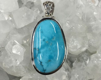 Sterling Silver Sleeping Beauty Turquoise Pendant #3