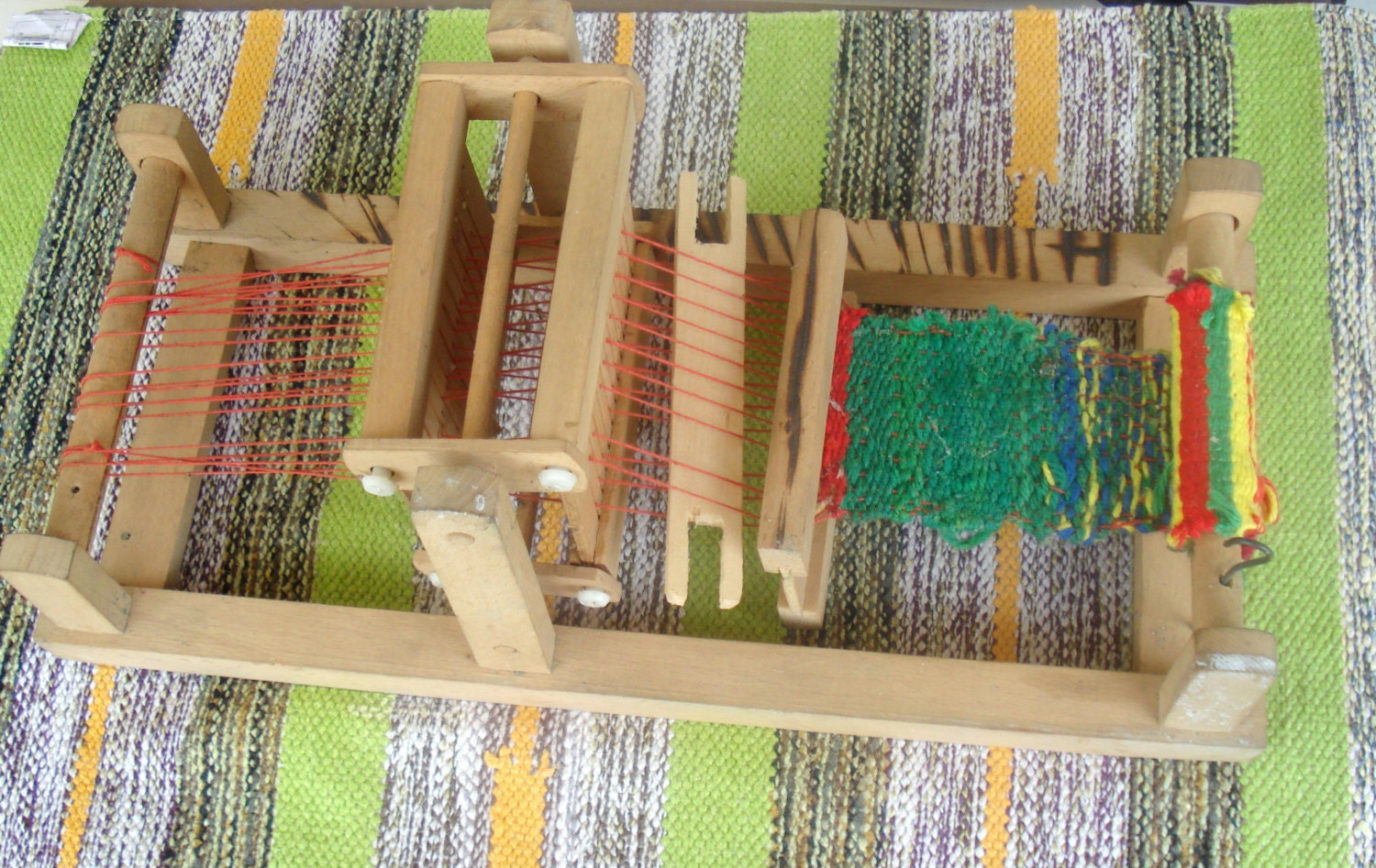 Vintage Small Bulgarian Table Loom Rarerare Child Weaving