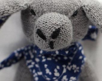 Lop Eared Bunny Doll | Grey | Handknit | Wool