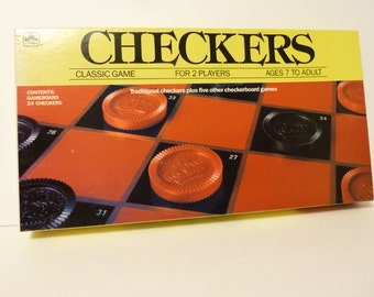 Vintage, 1980's era Checkers, Plus 5 other Game Instuctions
