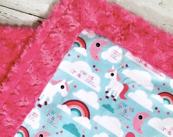 Unicorn Baby Blanket - Designer Unicorn Minky -  Pink