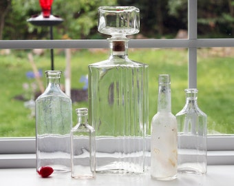1920 - 1960 Vintage Bottle Collection of Five Old Bottles Whiskey Medicine Hair Tonic Hand Blown Tops Clear Bottles Each Different