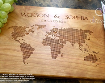 Personalized Cutting Board, Custom Engraved World Map, Wedding Gift, Anniversary Gift, Bride and Groom, Gift for Couple. 605