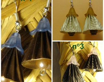 "A pair of earrings , pendants "" upcycling "" capsules, bell chape. 3 models"