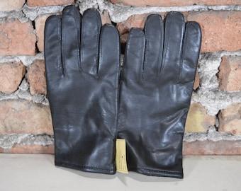 Vintage black leather gloves Man's goatling nappa gloves Size 10 NOS Winter gloves Driving black gloves Genuine goatling nappa Perfect gift