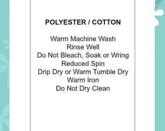 Polyester / Cotton Do Not Dry Clean | Soft satin ribbon content care clothing labels garments