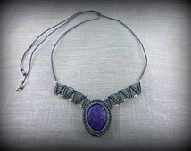Lapis Lazuli Macrame necklace . Blue natural stone. silvery beads. Adjustable lenght.